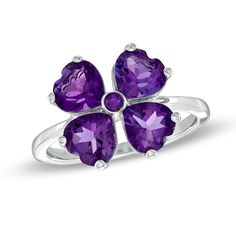Heart-Shaped Amethyst Clover Ring in Sterling Silver