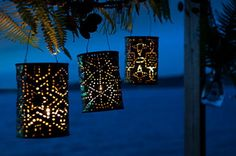DIY Coffee Can Lanterns. Turn a tin coffee can or tin can into festive lighted lanterns. DIY how to instructions. Coffee Can Crafts, Tin Can Crafts, Coffee Can Diy Projects, Fall Projects, Weekend Projects, Recycle Cans, Diy Cans, Repurpose, Recycle Metal