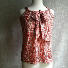 Banana Republic Red top Red tank with a gathered neck & floppy tie. Abstract fabric pattern of cream, grey , & brown. Banana Republic Tops
