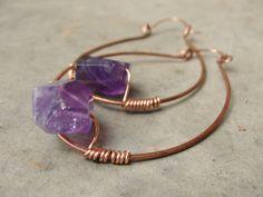 Purple Raw Amethyst Hoop Earrings  Healing by SydneyAustinDesigns