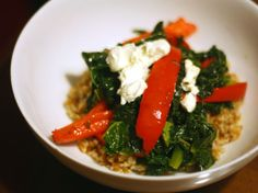 Farro With Sweet Red Bell Peppers, Kale, and Goat (omit or sub for vegan) Cheese