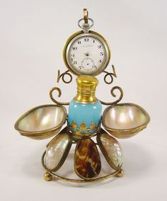 Napoleon III Palais Royal pocket watch stand holder loot opaline bottle 19 Cth