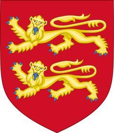 Normandie: Viele lokale Dichter und einige Historiker, vor allem aber Lokalpatrioten sahen den Schild mit drei Leoparden als das eigentliche Wappen der Normandie an. Es war das Wappen, das auch auf Guernsey und Jersey in Gebrauch ist. Dieses sollte auch an die anglo-normannischen Herzöge und Könige als Schöpfer des Modernen England anknüpfen. Sie sahen das Wappen mit nur zwei Leoparden als eine Folge der Eroberung der Normandie durch die Zentralmacht in Paris an.