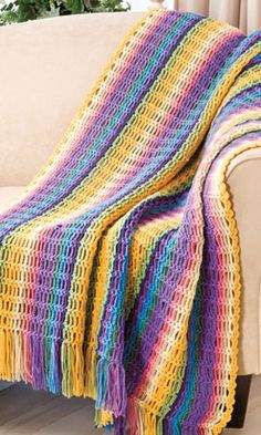 At Home -- Chain Stripes Afghan from Crochet! magazine