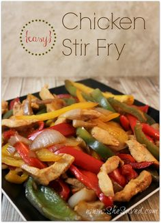 This Easy Chicken Stir Fry recipe is just perfect for a weeknight meal. You can do a lot of the prep ahead of time and throw it together quickly. So good!