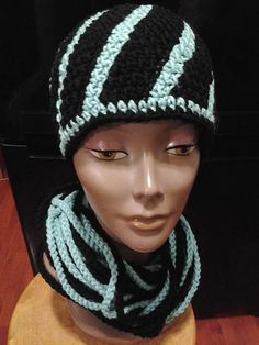 Mint Chocolate Chip Swirl Hat and Chain Scarf Set $35.00