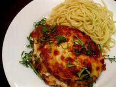 Chicken Parmesan* NOTE: Sub breadcrumbs, flour and mozzarella... and of course sub the pasta with zoodles