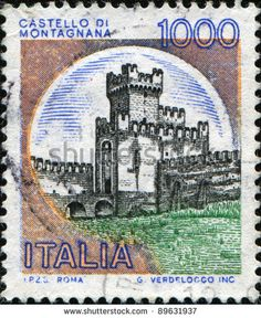 colorful+italian+stamps | ITALY - CIRCA 1980: A stamp printed in Italy shows Castle di ...