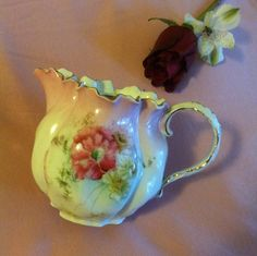 Rose Floral Creamer Antique French or German by PamsPawsJewelry