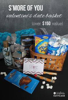 Win this basket for an ultimate Valentines Day date with your sweetheart! Includes everything you need for a romantic camping in the living room date! Gourmet Smores, Bath & Body Works faves, and a luxury blanket! Theme Baskets, Themed Gift Baskets, Raffle Baskets, Diy Gift Baskets, Basket Gift, Valentines Day Baskets, Valentines Day Date, Valentines Diy, Date Night Gift Baskets
