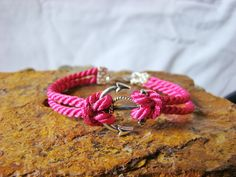 Hot Pink Rope Nautical Anchor Bracelet. ETSY $6.99