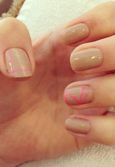 Nude nails with a touch of neon