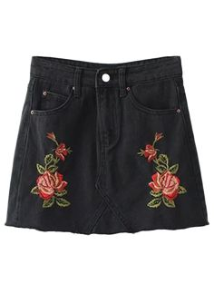 Cutoffs Rose Embroidered Denim Skirt - Black