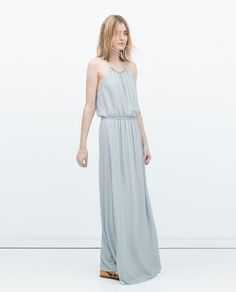 Image 1 of LONG DRESS WITH APPLIQUÉ NECKLINE from Zara