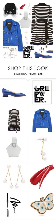 """""""GIRL POWER: Power Look"""" by hamaly ❤ liked on Polyvore featuring Bottega Veneta, Stupell, MANGO, Jennifer Behr, Bobbi Brown Cosmetics, Gucci, outfit, ootd, girlpower and powerlook"""