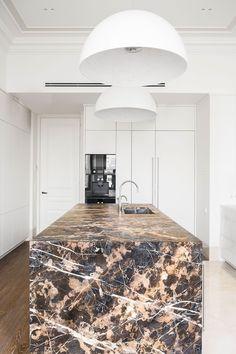 classic interior in moscow. Home Design, Modern Design, Kitchen And Bath, Kitchen Dining, Island Kitchen, Dining Room, Residential Interior Design, Classic Interior, Farmhouse Chic