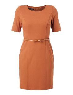Kleid mit 1/2-Arm und Taillengürtel Orange - 1