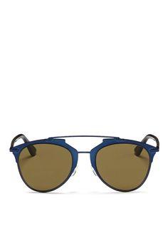 8540abae85e8 DIOR  Reflected  Acetate Temple Metal Veneer Aviator Sunglasses.  dior   sunglasses