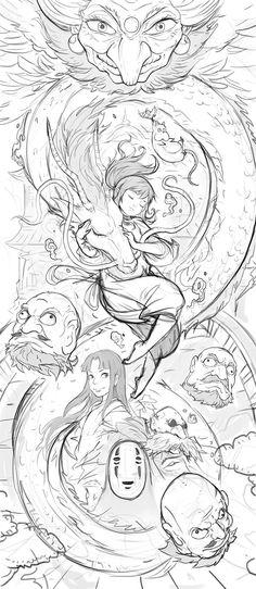 ArtStation - Spirited Away Comp, Ignatius Tan Studio Ghibli Films, Art Studio Ghibli, Studio Ghibli Tattoo, Tattoo Studio, Art Anime, Anime Kunst, Manga Art, Spirited Away Tattoo, Spirited Away Art