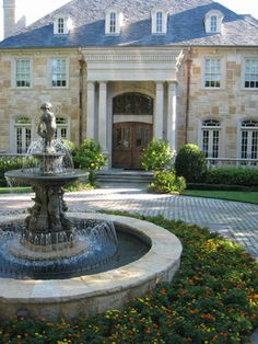 images about Ideas for circle driveway fountain and