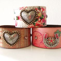 Unique distressed leather cuffs- in pink!