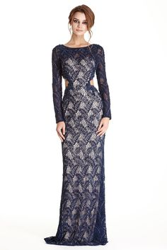 Evening Gown APL1784.  Floor Length and Sheath Shape, Beading and Gemstone Embellished Lace Overlaid Evening Dress has Side Cutouts, Bateau Neckline, Semi Sheer Back featuring Zipper Closure and Full Length Sleeves.  https://www.dresstopic.com/evening-dresses/evening-gown-apl1784