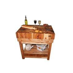 End Grain Hickory Butcher Block Kitchen Island Cart with Hickory Base Butcher Block Kitchen, Butcher Blocks, Kitchen Island Cart, Kitchen Islands, Made In America, Furniture Making, Chefs, Natural Wood, Solid Wood