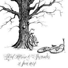 Guestbook tree with bicycle add on by EricaHCalligraphy on Etsy