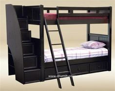 black Bunk Bed with Stairs