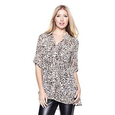 DKNYC Chiffon Oversize Shirt with Roll-Tab Sleeves at HSN.com. #HSN #FallFashion Great for fall weather plus so cute.