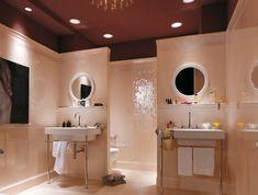 badgestaltung fliesen rosa mosaik hochglanz vintage waschtische