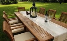 8xAtlantic+OceanRectTable-5 Outdoor Lounge, Outdoor Living, Outdoor Decor, Garden Furniture, Outdoor Furniture Sets, Teak Table, Table And Chair Sets, Cottage, Ocean