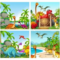 Illustration of Four scenes of dinosaurs in the park illustration vector art, clipart and stock vectors. Dinosaur Kids Room, Dinosaurs Preschool, Dinosaur Images, Dinosaur Pictures, Dinosaur Background, Banners, Dinosaur Drawing, Naive Art, Boy Art