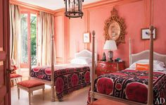 Jorge Elias ~ Jorge designed the twin four-posters in daughter Manuela's room; the Indian coverlets are from Jorge Elias Boutique. Best Paint Colors, Bedroom Paint Colors, Architectural Digest, Jorge Elias, Coral Walls, Peach Walls, White Walls, Bedroom Orange, Peach Bedroom