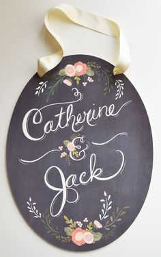 Custom Sign Hand Painted Oval-Bride and Groom names. $84.00, via Etsy.