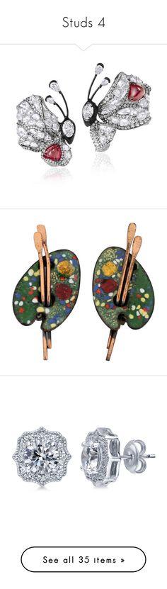 """Studs 4"" by thesassystewart on Polyvore featuring jewelry, red carpet jewelry, star jewelry, earrings, black, vintage enamel earrings, vintage copper earrings, copper earrings, tri color earrings and vintage clip on earrings"