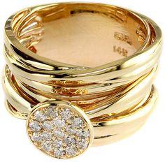EFFY D'Oro 14 Kt. Yellow Gold & Diamond Stacked Ring