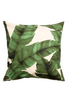 Leaf-print cushion cover: Cotton cushion cover with a leaf print and concealed zip.