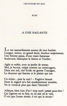 A une passante - Charles Baudelaire Literature Quotes, Book Quotes, Words Quotes, French Poems, French Quotes, How To Speak French, Learn French, Blue Words, French Language Lessons