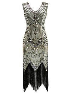 Champagne Beaded Sequined Fringe Flapper Dress – Retro Stage - Chic Vintage Dresses and Accessories