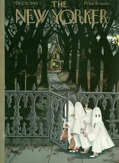 """Illustration by Edna Eicke American magazine illustrator. She worked with """"The New Yorker,"""" doing 57 covers (scenes of early childhod) fstarting in Retro Halloween, 31 Days Of Halloween, Fall Halloween, Halloween Treats, The New Yorker, New Yorker Covers, Halloween Illustration, Illustration Art, Book Illustrations"""