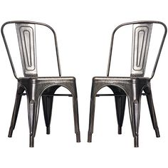 Buy Merax High Back Steel Stackable Vintage Metal Dining Chair, Golden Black (Set of 2) - Topvintagestyle.com ✓ FREE DELIVERY possible on eligible purchases