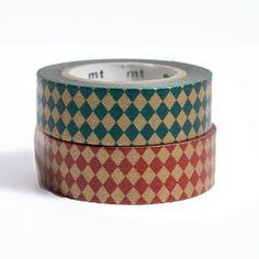 MT Deco Washi Masking Tape Y. Diamond Gold/redxgreen