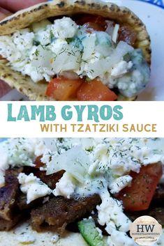 Lamb Gyros with tzatziki sauce recipe. Sauce Recipes, Meat Recipes, Real Food Recipes, Cooking Recipes, Cookbook Recipes, Sandwich Recipes, Recipies, Tzatziki Sauce, Turkish Recipes
