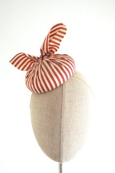 etsy-Red and Cream Striped Silk Cocktail Hat Fascinator Strawberries and Cream Top Knots Mini Very Vintage Collection