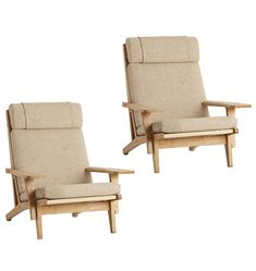 Pair of Hans Wegner GE 375 Armchairs w/ Original Wool Upholstery || Dream chairs.