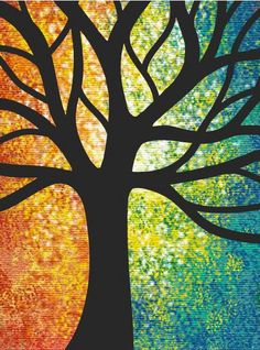 3-28-2014:  Rainbow tree outline.  Very grounding.  I bought a shadow box for the magazine strips today!  It's going to be awesome.
