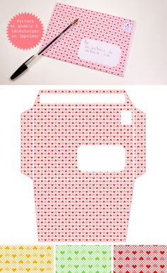 """Hearts"" Pattern and Envelope Template - Free PDF Printable in 3 colorways. by terrynight"