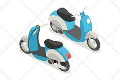 isometric scooter icon by Kurokstas on Creative Market