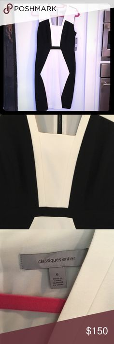 Dress to impress! Cream and black knit. Brand new. Nordstrom Classiques Entier brand. Very flattering, just a size too small for me. Zipper runs all the way down back. Nordstrom Dresses Midi